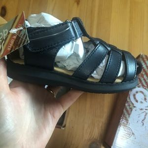 Toddler navy blue leather sandals